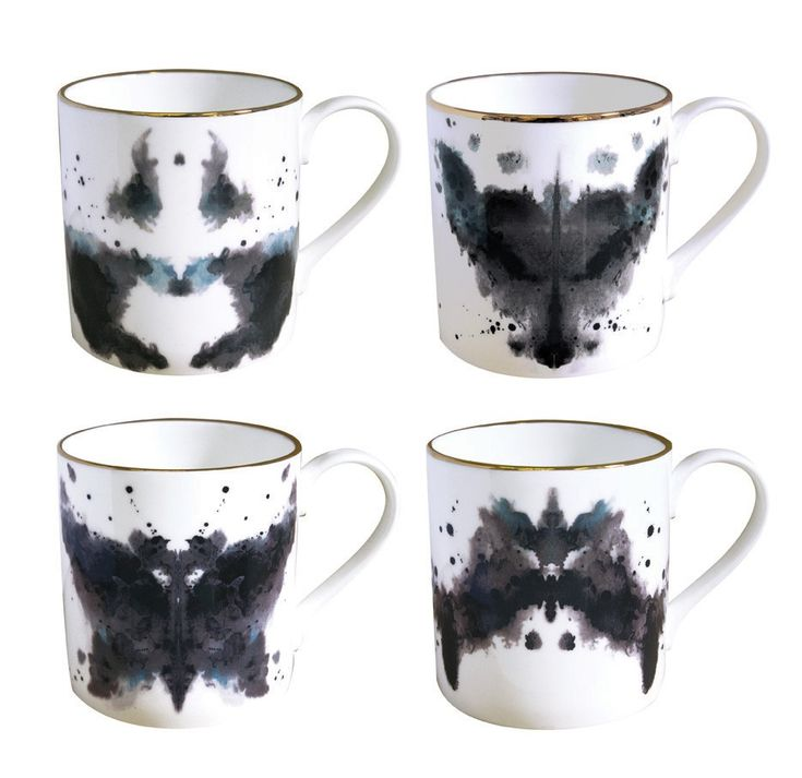 Tazze China Ink- they should be called Rorschach mugs, and only used when watching the movie Watchman or reading the comics.-Kisha: Gift, Cups, Ceramic, Inkblot, Kitchen, Rorschach Mugs, Ink Blot, Products