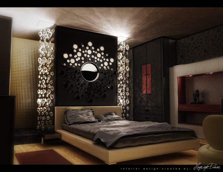 Stunning Luxury Bedroom Design With Beige Leather Upholstered Bed With Chrome Nightstand On Black Wall Panel With Beautiful Sun Stars Mirror Wall Decor