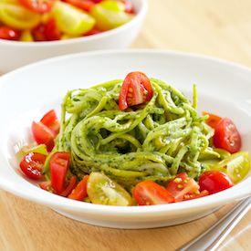 Cilantro Pesto over Zucchini Noodle