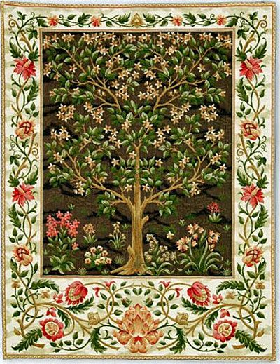 Tree Of Life Belgian Wall Tapestry, Woven in Belgium