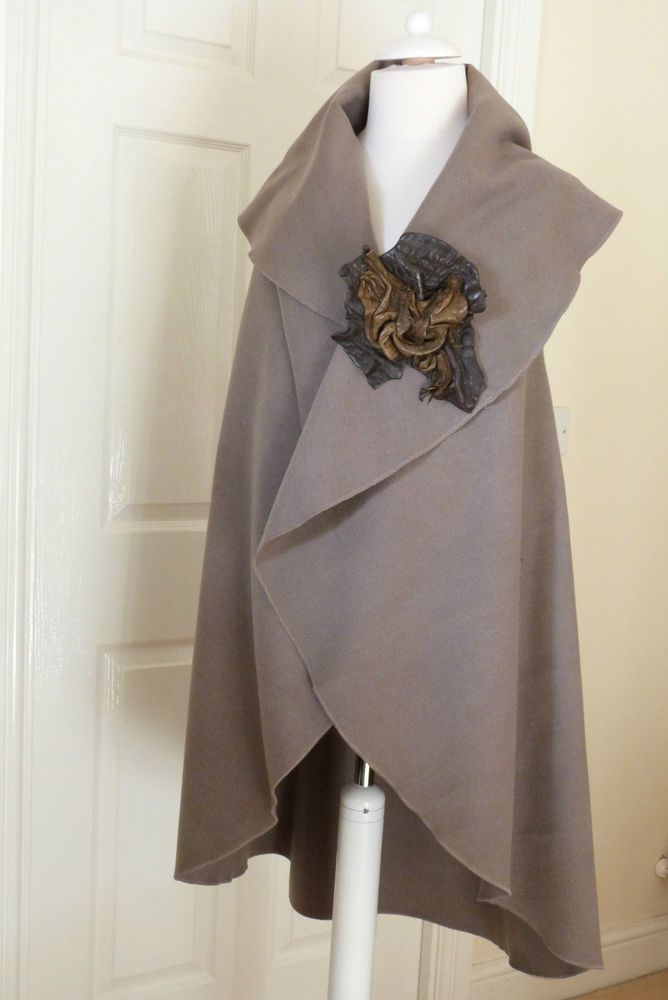 fab Zuza Bart leather brooch with wool designer layering jacket L/XL
