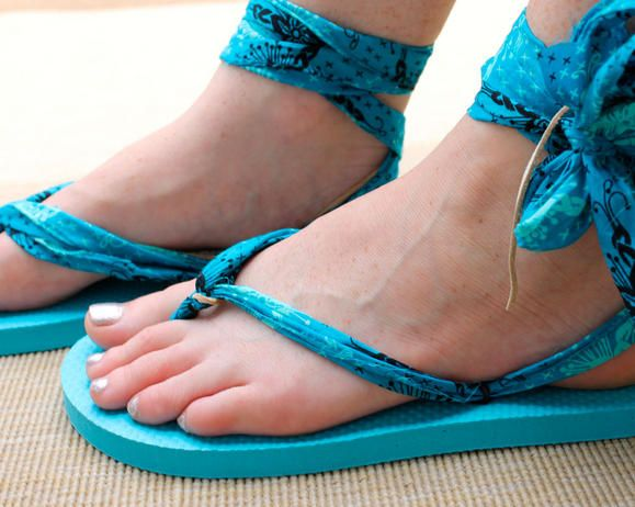 Transform Flips Flops into Ankle Tie Sandals from Fiskars.com