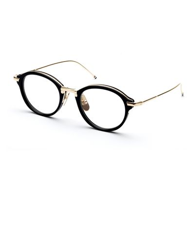 thom browne optical glasses handcrafted black acetate and titanium frame plated 12k shiny gold titanium temples custom titanium nose pads wit pinteres
