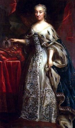 Ulrika Eleonora, Queen Regnant of Sweden 1718–1720 wears a typical royal robe and gown.