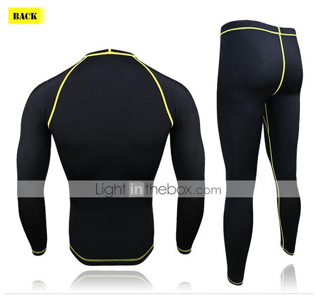 arsuxeo vestito strato di base di compressione degli uomini (collant maglia + / pantaloni) manica lunga traspirante + collant ad asciugatura rapida del 2015 a €28.49