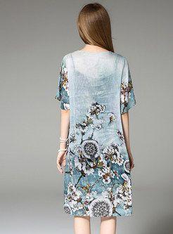 Half Sleeve O-Neck Print Shift Dress