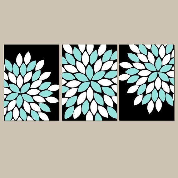 Black Aqua Wall Art CANVAS or Prints Flower Burst by TRMdesign