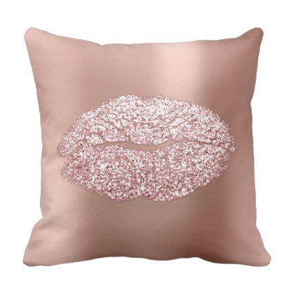 Pink Rose Gold Blush Glitter Kiss Skinny Metallic Throw Pillow - blush pink gifts unique special diy custom