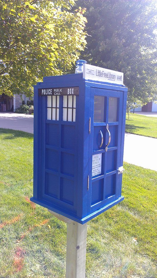 "Jeff Gunn. Northfield, MN. The design was chosen by our 12 year old daughter. We knew we wanted a Little Free Library but couldn't come up with a plan. One night watching Doctor Who our daughter said, ""That's it. That's what our library should look like."""