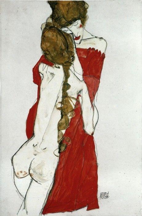 Mother and Daughter - Egon Schiele, 1913: Mother And, Be Shiel, Schiele Woman, Illustration, Egon Schiele, Und Tochter, Daughters, Painting, Egon Schiele