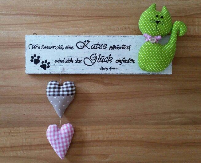 Holz-Schild mit Katze und Herzen nach Tilda-Art, Landhaus Nähen Stoff * Wood-Sign Cat Hearts Tilda Shabby Sewing DIY