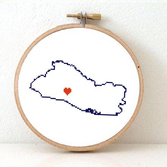 EL SALVADOR map modern cross stitch pattern. El by koekoek on Etsy, €2.15