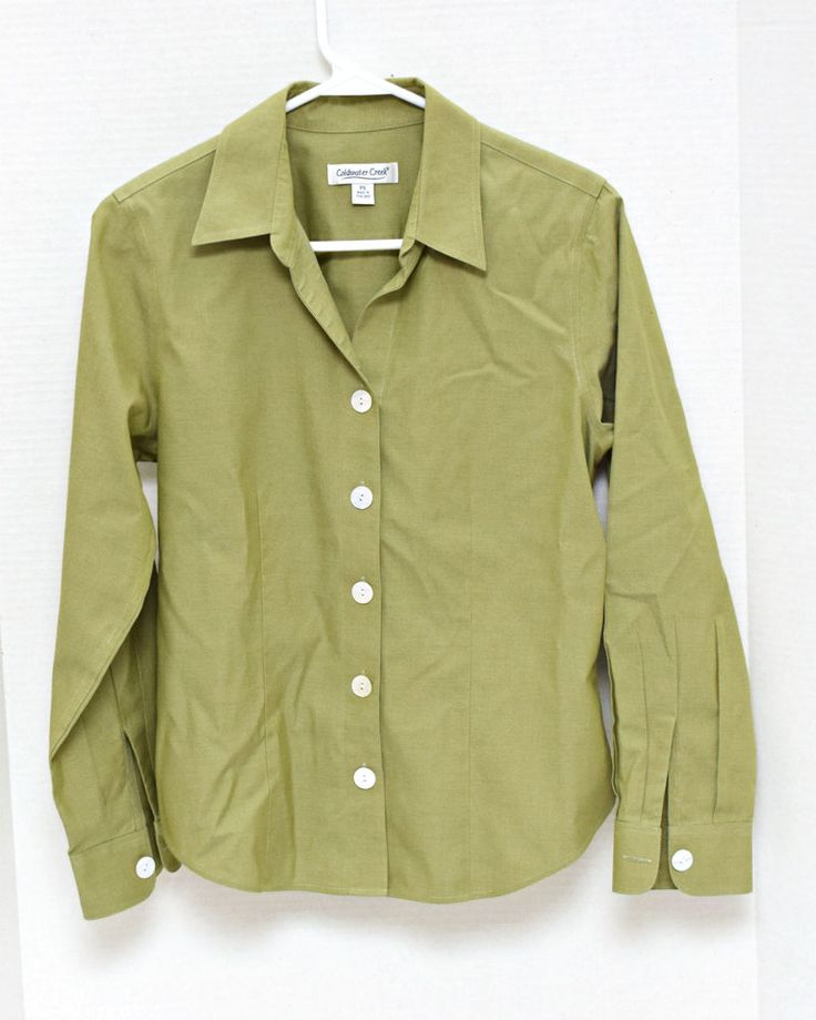 Coldwater Creek Womens Blouse Top Petite S Long Sleeve Button Down Olive Green #ColdwaterCreek #ButtonDownShirt #CasualCareer