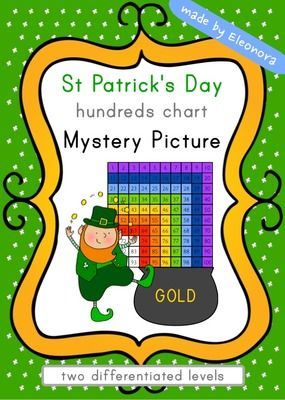 St Patricks Day Hundreds Chart Mystery Picture - Differentiated from Eleonora on TeachersNotebook.com (6 pages)
