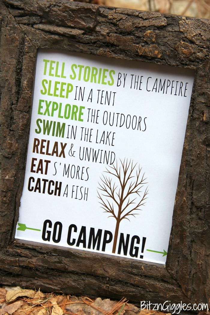 Go Camping Free Printable - A fun printable to hang in your family camper, display at summer camp or just use to decorate the inside of your home or cabin!