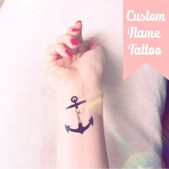 Set of 2 Custom Name/Text Anchor temporary tattoo by InknArt, $7.99