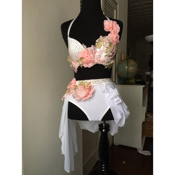 Custom dance costume (white, gold and pink) ($375) ❤ liked on Polyvore featuring costumes, pink costume, white halloween costumes, adult costumes, white costume and pink halloween costumes