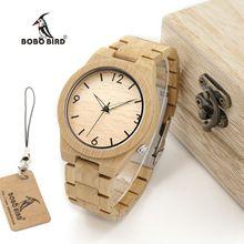 BOBO BIRD WD27 Bamboo Wooden Watch for Men Unique Lug Design Top Brand Luxury Quartz Wood Band Night Green Pointer Wrist Watches(China (Mainland))
