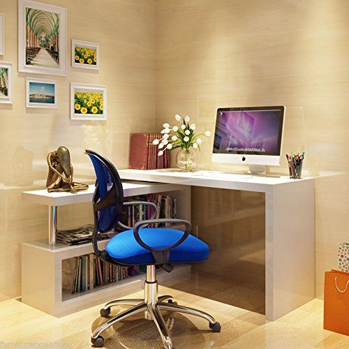 New SIENA White High Gloss Computer desk. Shelves rotate. 120 x 75 x 50 cm (178 total l if shelves out lengthwise)