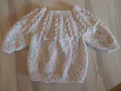 Tuto tricot layette brassière en taille naissance explications pendant le diaporama - YouTube