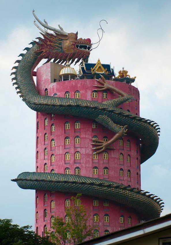 the dragon building. wat samphran, thailand