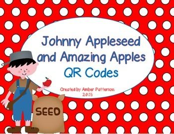 This resource is perfect for a listening center and to supplement a science or language arts unit based on apples, the life cycle of an apple tree, and Johnny himself!  Included in the QR Codes:-Fiction Read Alouds-Non-Fiction Read Aloud (Gail Gibbons)-Non-Fiction Short Videos-Fact-Based Apple Song-Johnny Appleseed Short Videos-Life Cycle Animation Video-How to Draw an Apple Tree Video**All QR Codes are linked to www.youtube.com, so please make sure you can access that site on your school…