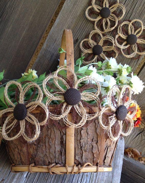 Burlap Daisy Rustic Decor Flower Set of 12 Weddings by resadavid, $19.95