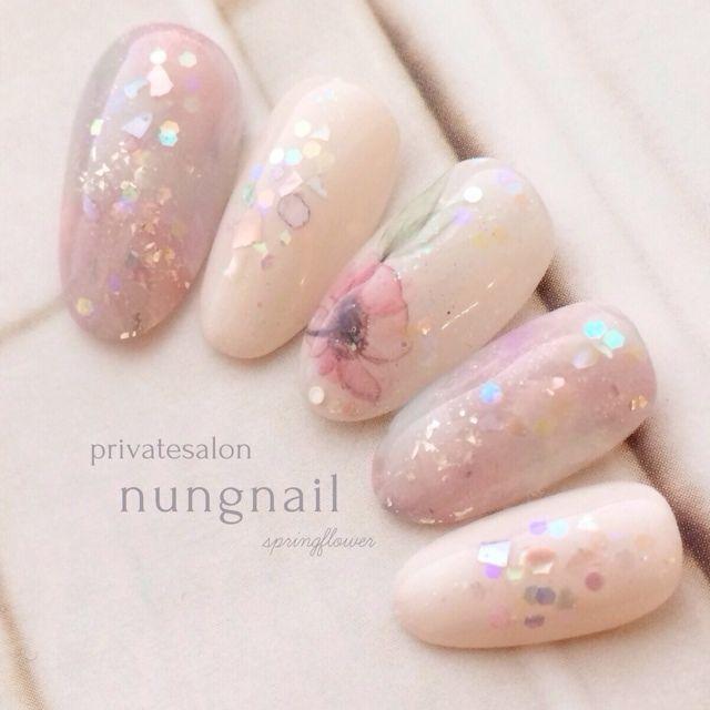 nungnail's yukata, Valentine, summer, gel nails, Medium, antique, short, pink, spring, dating, party, chip, hologram, blue, nail seal nail ♪ [1404513]   Nail book