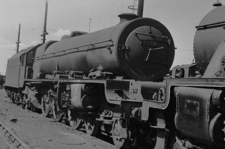 "46211:""Queen Maud""  Princess Royal 4-6-2 at Willesden July 1959. Photo by Geoff Bannister"