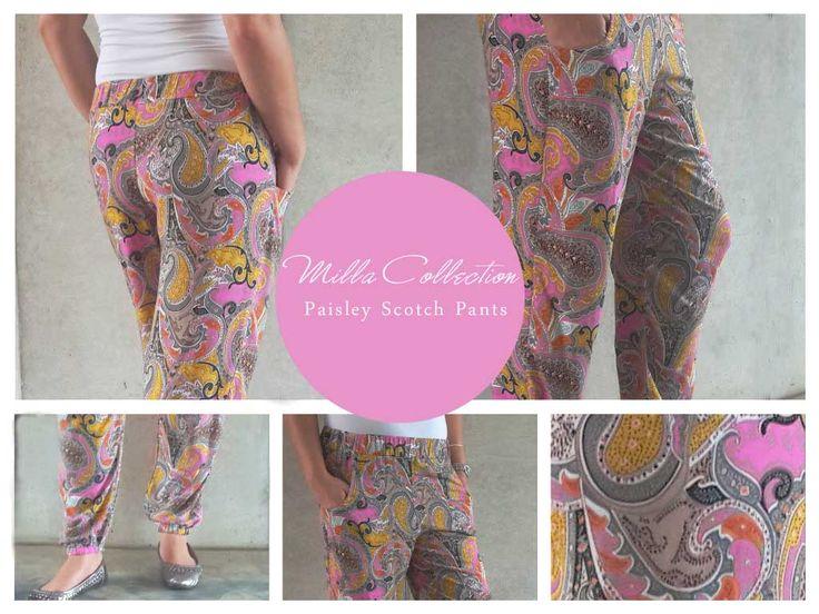 Pink paisley Scotch pants