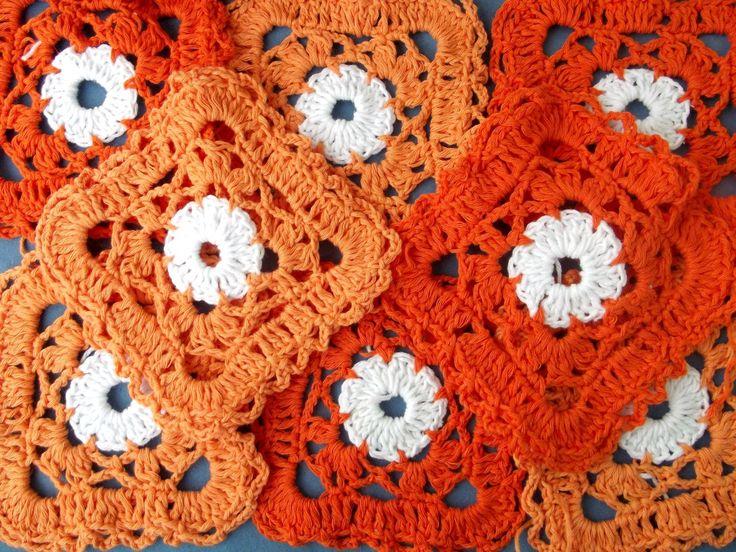 crochet, crochet squares, orange