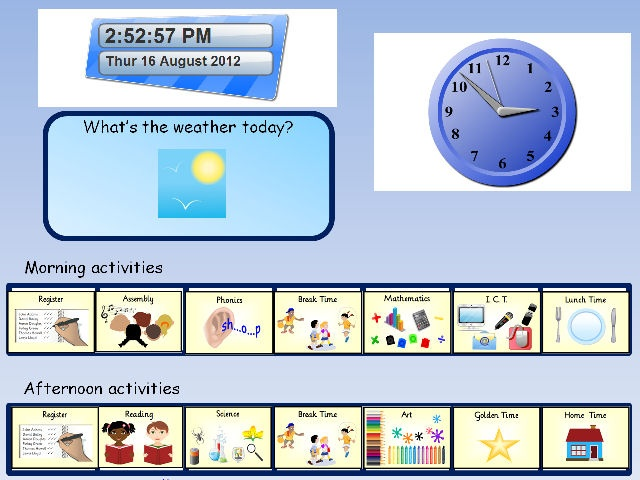 An interactive visual timetable, in MSppt format, that includes hyperlinked slides and a constantly updating date and analogue clock section. This version uses clear illustrations rather than symbols.