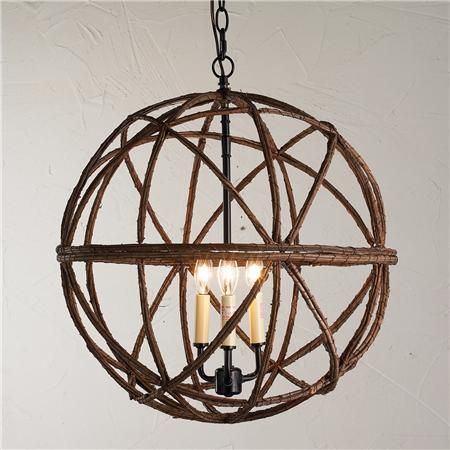 Twig Sphere Chandelier or Pendant Light - could be interesting as a lighting piece above the lounge area