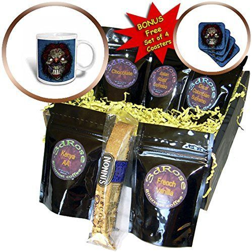 3dRose Dark Evil Clown Zombie Illustration  Comic book style illustration of an evil clown  Coffee Gift Baskets  Coffee Gift Basket cgb_252438_1 >>> Continue to the product at the image link.Note:It is affiliate link to Amazon. visit literaryswag.com