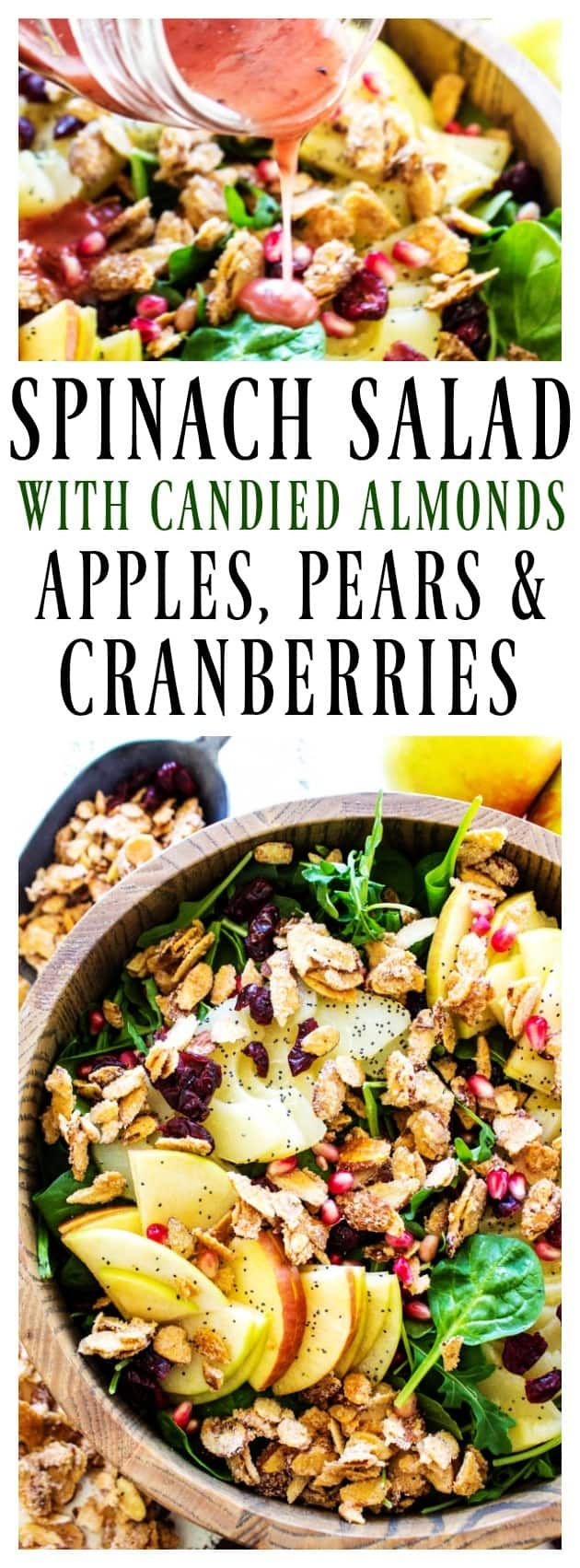 SPINACH SALAD WITH APPLES, PEARS, CRANBERRIES & CANDIED ALMONDS - A Dash of Sanity