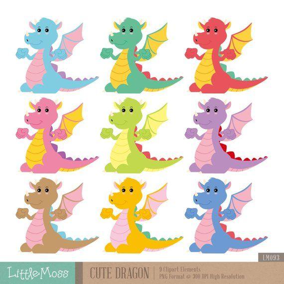 Cute Dragon Digital Clipart Etsy Cute Dragons Clip Art Digital Clip Art