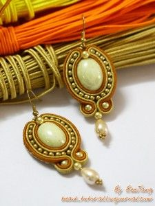 Tutorial : Golden Soutache EarringsLevel : IntermediateTechnique : Soutache embroidery