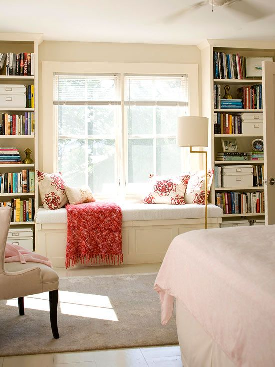 "Window Frames ""Frame a window seat with built-in bookshelves. That way books are just an arm's length away when you're ready to relax on the window seat."""