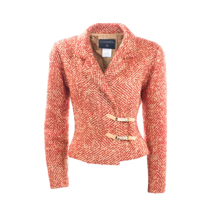 Chanel Jacket Red Tweed With Metallic Gold Threading