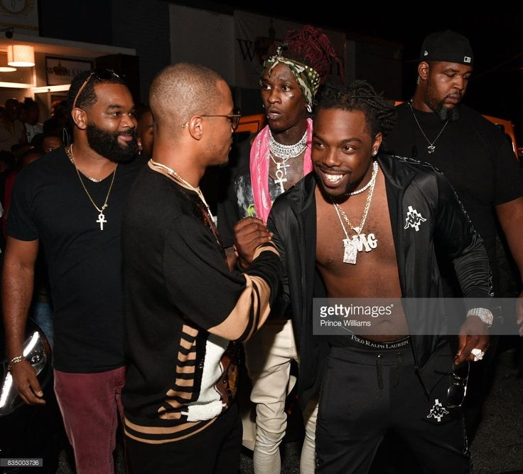 T.I. and Young Scooter attend Young Thug's birthday party at Tago International on August 16, 2017 in Atlanta, Georgia.