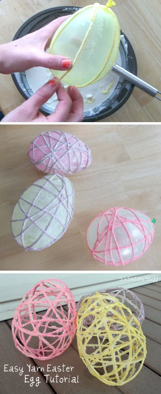 Yarn Easter Egg Tutorial | Easter Crafts Add a piece of chocolate to inside of balloon for a cute treat!