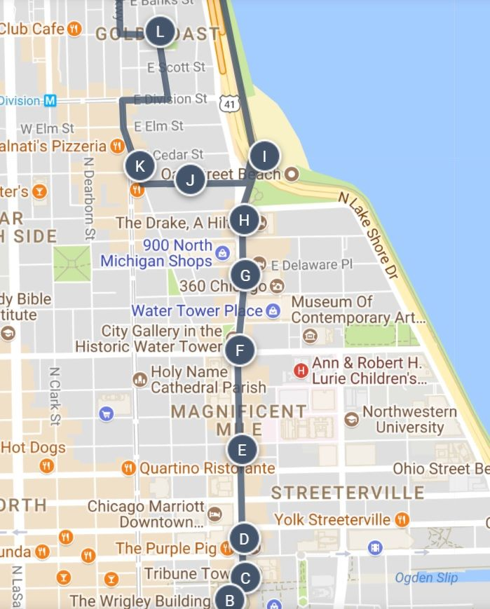 Best Of Chicago Magnificent Mile Gold Coast Sightseeing Map And