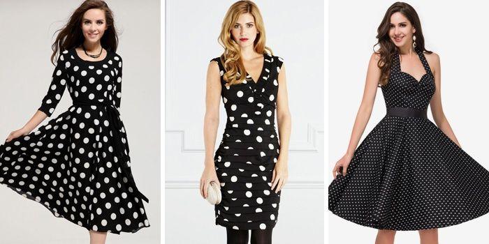 Черные летние платья в горошек