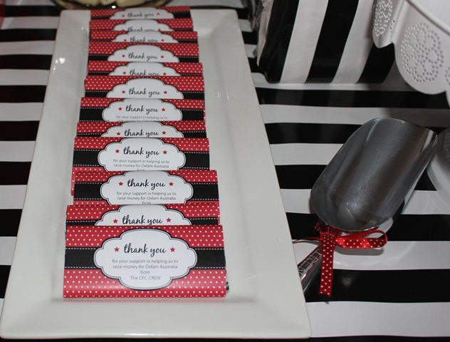 Red and black Personalised chocolate bar with a thankyou message