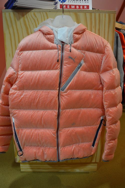 The translucent trend is taken to a whole new level with this quilted jacket, filled with dyed goose down feathers from the newly launched Puma Ecosphere collection, spotted at Outdoor Retailer in Salt Lake city today.
