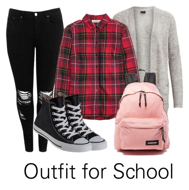 """""""bang bang :)"""" by sinihanna on Polyvore featuring Boohoo, H&M, Eastpak and Converse Outfit for School"""