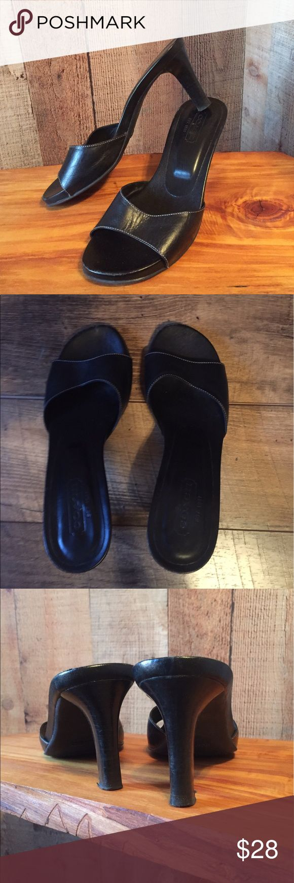 """COACH Slides sz 7.5 Black leather upper with contrast stitching.  COACH logo on the heel bed.  Comfortable 3.5"""" heel.  The worst wear is displayed on the front of the toes in a picture.  Size 7.5.  Unfortunately no box. Coach Shoes Sandals"""