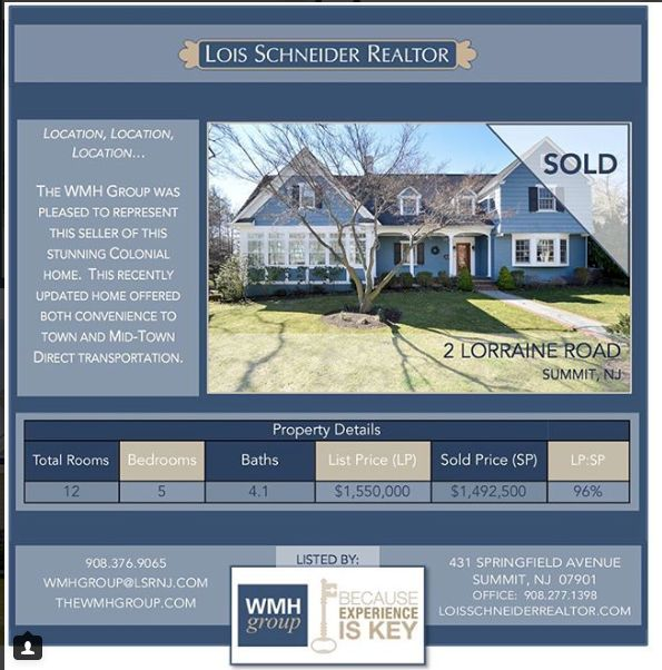 The WMH Group at Lois Schneider Realtor - Instagram Recap July 2017, The WMH Group at Lois Schneider Realtor, 431 Springfield Avenue, Summit, NJ, Office: 908.277.1398, DIRECT LINE: 908.376.9065, wmhgroup@lsrnj.com, thewmhgroup.com, Move to Summit New Jersey, Summit NJ Real Estate, Real Estate For Sale In Summit, Zillow, Trulia, For Sale, Buying A Home, Find Your Realtor In Summit, NJ, Sold 2 Lorraine Road, Summit, NJ, Midtown Direct, In Town Access