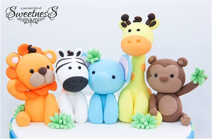 Plastic Jungle Animals Cake Toppers