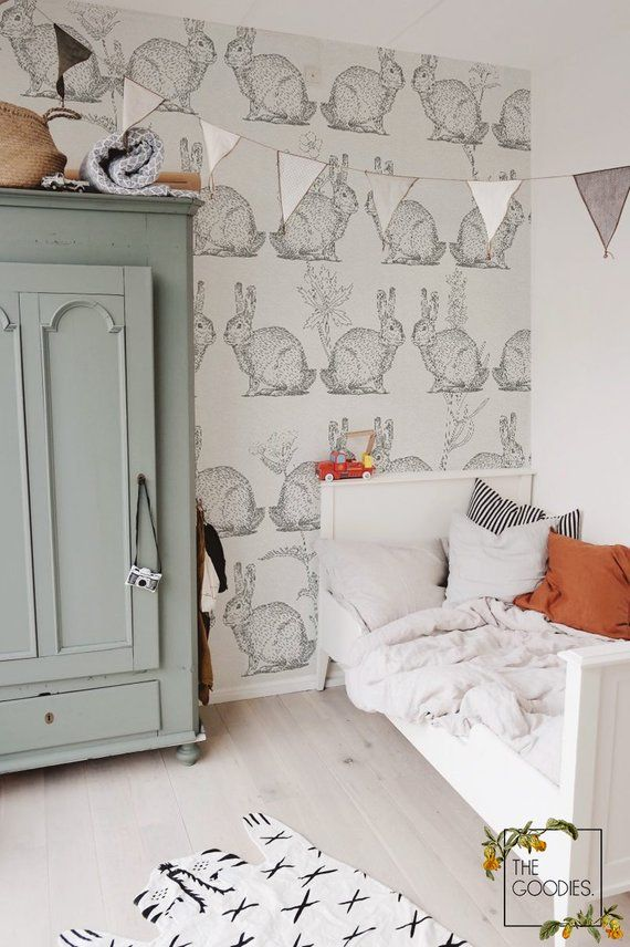 Bunny wallpaper, Rabbit wall mural, Nursery wallpaper, Drawing wallpaper, Kids room wall murals, Kids decor, Vintage kids wallpaper #38